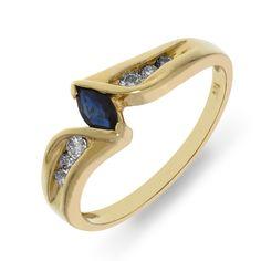 Sapphire Diamond Ring Shop it here: http://www.missesdressy.com/jewelry/shop/9j32966 #accessories #ring #yellow #gold #sapphire #blue #diamond #MissesDressy