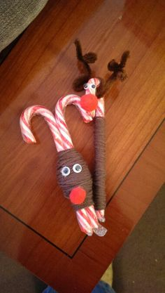 Candy cane reindeers made by me..