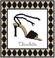 0 point de croix chaussure de soirée - cross stitch party shoe
