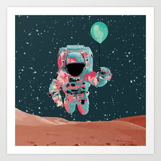 Cosmo Astro II Art Print by Jacek Muda  #print #design #illustration #vector #cosmic #astronaut #cosmonaut #balloon #fly