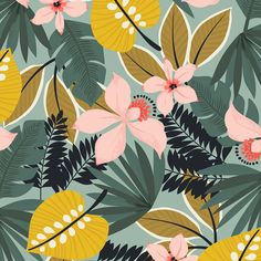 Ideas For Wallpaper Flowers Art Print Patterns Design Textile, Design Floral, Motif Floral, Textile Prints, Floral Prints, Art Prints, Tropical Prints, Floral Pattern Print, Flora Design