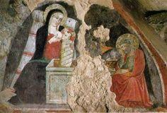 La vierge allaitant l'Enfant en présence de Saint Joseph Maître de Narni, 1409 Fresque Santuario Francescano del Presepio (Sanctuaire Franciscain de la Crèche), Greccio, Italie