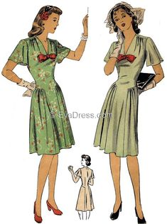 1943 Dress Pattern by EvaDress - A Favorite! Vintage Outfits, 1940s Outfits, 1940s Dresses, Vintage Dresses, Vintage Dress Patterns, Dress Sewing Patterns, Clothing Patterns, Skirt Patterns, Coat Patterns