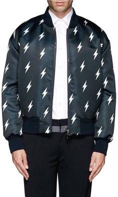 Neil Barrett Lightning bolt print padded bomber jacket on shopstyle.co.uk