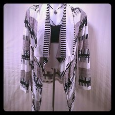 Light weight Aztec Cardigan size Xl BEAUTIFUL navy gray and white open fly away cardigan Sweaters Cardigans