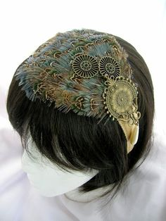 Peacock feather and steampunk embellishment headband.