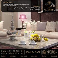 هل تعلم أن الفازات والأطباق الزجاجية تعكس الضوء و تعطي الغرفة تميزآ وإشراقآ  Did you know that vases and glass dishes reflect light and let the room be brighter?  #ALGEDRA #ALGEDRADesign #ALGEDRADecor #ALGEDRAInterior #ALGEDRADubai #AD #DidyouKnow #PicoftheDay #Best #Dubai #UAE #DubaiLife #UAELuxury  #هل_تعلم #الكيدرا #الكيدرا_للديكور #الكيدرا_للتصميم_الداخلي #ديكور_الكيدرا #تصميم_الكيدرا #تصميم_داخلي_الكيدرا #دبي #الإمارات #دبي_ابوظبي #دبي_مول #ابوظبي #الشارقة #العين #الفجيرة