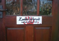 Halloween Zombie Outbreak Wood Sign Carved Lettering.