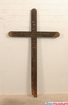 Grave cross.    This is a German grave marker for 2nd Lieutenant Arthur James Fisher, RFC who was shot down in his B.E.12 aircraft by Manfred von Richthofen (The Red Baron) whilst flying with 21 Squadron. This marker would have been replaced with a gravestone at the end of the war by the Imperial War Graves Commission, now the Commonwealth War Graves Commission.