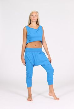 9942b2519f Cropped Loose Top with OM Mandala Print - Women's Blue,Asymmetrical,Droop  Neck Top - Sleeveless Yoga Top-Symbol Print Top