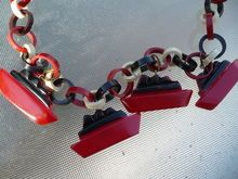 Vintage 1930's/40's Bakelite Ships on Red, White, and Blue Celluloid Chain