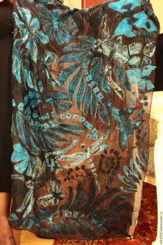 """Купить Палантин """"Вечер.Мотыльки и стрекозы"""" - черный, винтажный стиль, палантин ручной работы, палантин Nuno Felting, Needle Felting, Wool Scarf, Wool Felt, Shawl, Scarves, Textiles, Embroidery, Painting"""