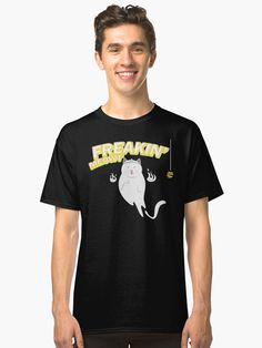 funny cat design in halloween party • Millions of unique designs by independent artists. Find your thing. Fan Shirts, Cat Design, Tshirt Colors, Wardrobe Staples, Chiffon Tops, Female Models, Funny Cats, Halloween Party, Classic T Shirts