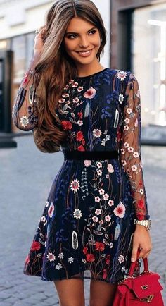 #fall #outfits women's blue, white, and rd floral long sleeved mini dress