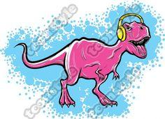 t-rex dinosaur with headphones #toonstyle #vector #face #illustration #vectorart #art #illustrator #cartoon #headphones #surprise #music #dino #dinosaur #trex