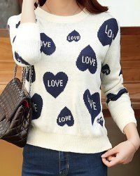 Sweet Round Neck Heart Pattern Embroidery Long Sleeve Women's Sweater