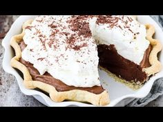 This pie is incredibly rich and silky with a chocolate mousse filling and whipped cream topping. Chocolate French Silk Pie Recipe, Chocolate Pie Recipes, Tasty Chocolate Cake, Decadent Chocolate, Homemade Chocolate, Chocolate Desserts, Chocolate Filling, Chocolate Shavings, Pie Dessert
