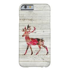 Vintage Floral Deer Gray Retro Wood Barely There iPhone 6 Case  | Visit the Zazzle Site for More: http://www.zazzle.com/?rf=238228028496470081 [Referral Link]