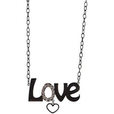 love necklace with heart hanging ($5.70) ❤ liked on Polyvore