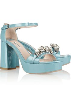 Easter shoes!!!  Miu Miu Crystal-embellished patent-leather sandals NET-A-PORTER.COM