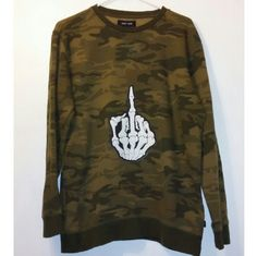 "Middle Finger Skeleton Camo Sweatshirt Size men's M. Great conditon. One of a kind design.   Measurements  Shoulder to shoulder : 19"" Armpit to armpit : 19 ""  Total length : 28"" Sleeve length : 24 "" Tops Sweatshirts & Hoodies"