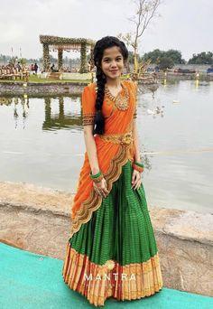 Kids Blouse Designs, Saree Blouse Neck Designs, Half Saree Designs, Saree Blouse Patterns, Half Saree Lehenga, Lehenga Saree Design, Sari, Bridal Lehenga, Indian Gowns Dresses
