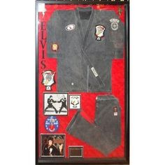 Elvis Presley personally owned and worn highly recognized black/grey Kenpo Karate Gi with red flair leg zippered pleats and distinctive patches: Collectibles