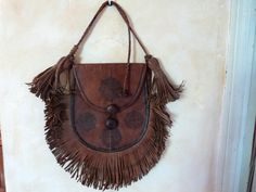 Vintage leather hand bag handbag w leather by MyFrenchAntiqueShop, $95.00