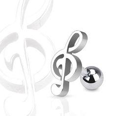 Tragus Piercing mit Musiknote
