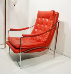 Milo Baughman style mcm sling chair red faux leather chrome frame on Etsy, $250.00