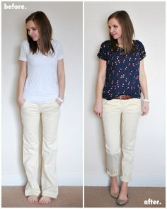 wide-leg to straight-leg refashion. sewing-projects-bottoms