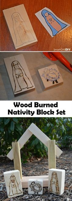 Smart Girls DIY - Wood Burned Nativity Block Set