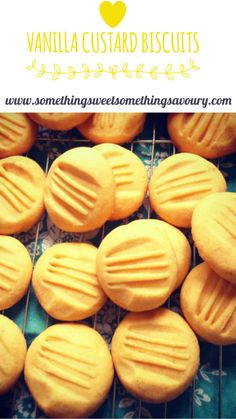Vanilla custard biscuits: These cute little golden tinged biscuits may look pretty unassuming but Custard Biscuits, Custard Cookies, Vanilla Biscuits, Custard Cake, Vanilla Custard, Biscuit Cookies, Cookies Soft, Baking Biscuits, Eggless Biscuits