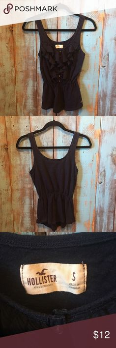 Hollister tank top size small Excellent used condition! Super cute Hollister tank top! Navy blue, always washed in cold and hung dried. No stains, rips or tears! No trades. Hollister Tops Tank Tops