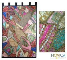 """Cotton Wall Tapestry """"Jewels"""" - India"""