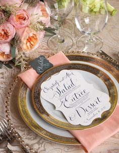 Salmon and gold table decoration.