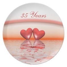 35th Anniversary Coral Hearts Dinner Plate