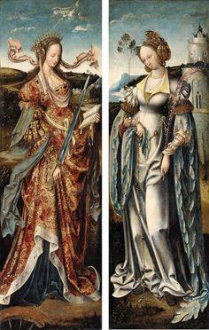 "maertyrer: ""attributed to Cornelis Engebrechtsz Saint Barbara and Saint Catherine early 16th century """