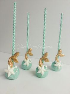 Under the sea themed cake pops Mermaid cake pops #ChicConfections #cakepops