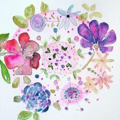 22/100 Flower plate #the100dayproject #100daysofplate #illustration #art #creative #dnestvorim #watercolor #akvarel #design #sketch #practise #paper #drawing #flower #flowers #blossom #pink #pale #pastel #micron #creative #pattern