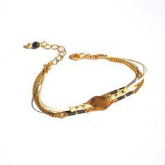 Bracelet hexagone doré, miyuki noire et macramé blanc -Bijoux ENORA-