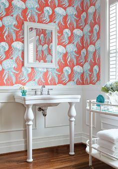 "Ask yourself, ""What about wallpaper?"", when designing your next space, and check out some fun inspiration pictures on our blog. www.junedelugasinteriors.com #wallpaper #interiordesign #design"