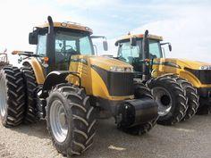 Challenger tractors r-l:MT645D with front duals  & MT575D