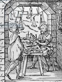 "The Scale Maker from ""Panoplia Omnium"", 1568, Hartman Schopper, Frankfurt"