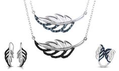 Groupon -    Blue or Black Diamond Feather Jewelry by Femme Luxe  in [missing {{location}} value]. Groupon deal price: $59.99