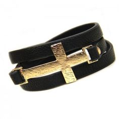 Gold Cross Wrap Around Black Leather Bracelet
