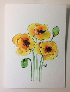Yellow Poppies Watercolor Card/ Hand Painted Watercolor Card This card is an original watercolor not a print. It would look lovely framed. This card is painted on heavy card stock. I have used watercolor and ink. The card is 5x7 and in portrait. Comes with a matching envelope in a