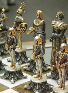 Vasari Figural Chess Set Silvered and Gilded Bronze Italy century CE Chess Set Unique, Kings Game, Chess Players, 3d Prints, Chess Pieces, Board Games, Sculptures, Creations, Carving