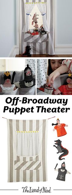 Create a puppet show anywhere in your home with the help of our Off Broadway Puppet Theater. It's easy to set up and has plenty of pockets to hold hand puppets. This versatile doorway puppet theater features tie-back curtains and a decorative star garland. Plus, it makes a unique gift for any girl and boy.