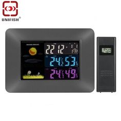 (56.91$)  Watch more here - http://ai3wv.worlditems.win/all/product.php?id=32800430547 -  UA97 Digital Color LCD Wireless Weather Forecast Clock Thermometer Hygrometer Barometer Alert Calendar Moon Phase Display